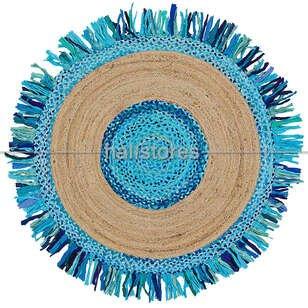 %100 Doğal Choti Jüt Sisal Yuvarlak Kilim Halı MX-05 Mavi - Thumbnail