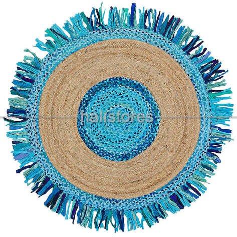 %100 Doğal Choti Jüt Sisal Yuvarlak Kilim Halı MX-05 Mavi