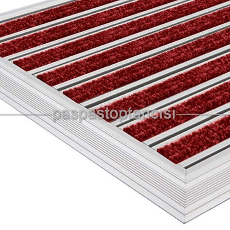 Alüminyum Metal Paspas Bukle Halı Fitilli PM1000 Kırmızı