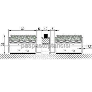 Alüminyum Paspas Bukle Halı Fitilli ve Fırça Sıyırıcılı UM1000F Gri - Thumbnail