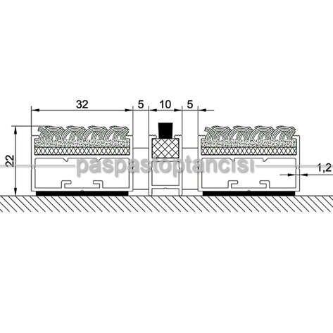 Alüminyum Paspas Bukle Halı Fitilli ve Fırça Sıyırıcılı UM1000F Gri