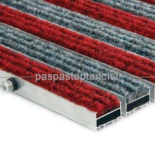 Alüminyum Paspas Halı Fitilli Kırmızı - Gri - Thumbnail