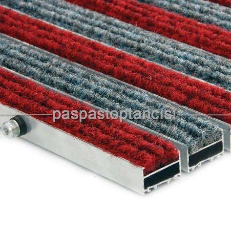 Alüminyum Paspas Halı Fitilli Kırmızı - Gri