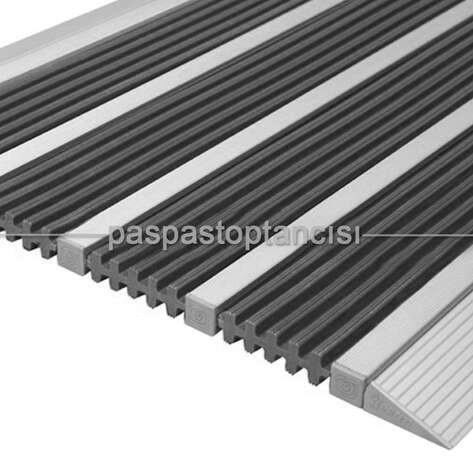 Alüminyum Paspas Yivli PVC Fitilli DM9000 Gri