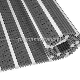 Alüminyum Paspas Yivli PVC Fitilli DM9000 Gri - Thumbnail