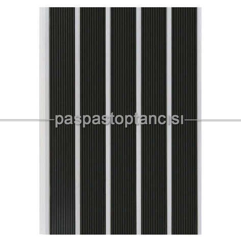 Alüminyum Paspas Yivli PVC Fitilli SM2000 Siyah