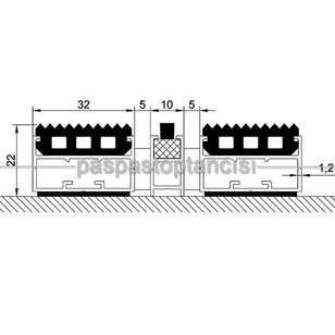 Alüminyum Paspas Yivli PVC Fitilli ve Fırça Sıyırıcılı UM2000F Siyah - Thumbnail