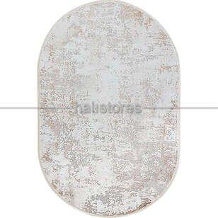 Bahariye Oval Halı Ezgi 5657 Beyaz-Vizon - Thumbnail