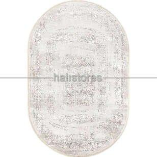 Bahariye Oval Halı Ezgi 5660 Beyaz-Kahve - Thumbnail