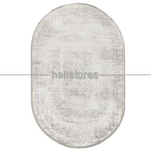 Bahariye Oval Halı Ezgi 5660 Beyaz - Yeşil - Thumbnail