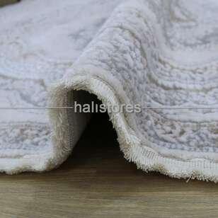 Bahariye Oval Halı Ezgi 5810 Beyaz-Kahve - Thumbnail