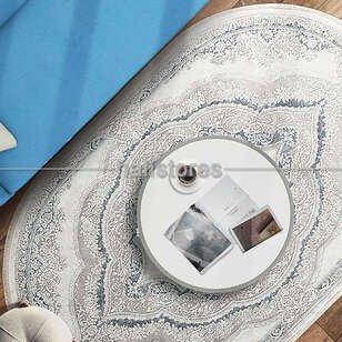 Bahariye Oval Halı Ezgi 5810 Beyaz-Mavi - Thumbnail