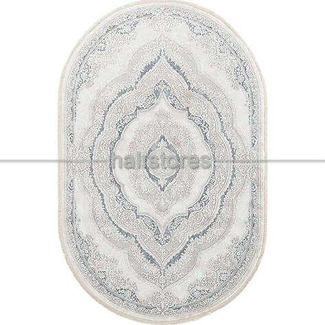 Bahariye Oval Halı Ezgi 5810 Beyaz-Mavi