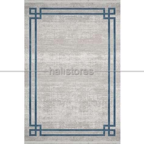 Çerçeveli Gri Mavi Salon Halısı Bella 1015GM