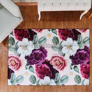 Çiçek Desenli Renkli Halı - Thumbnail