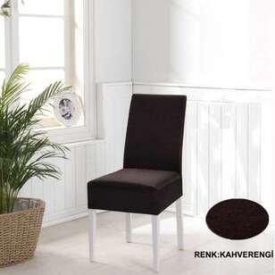 Esnek Likralı Kadife Kahverengi Sandalye Kılıfı - Thumbnail