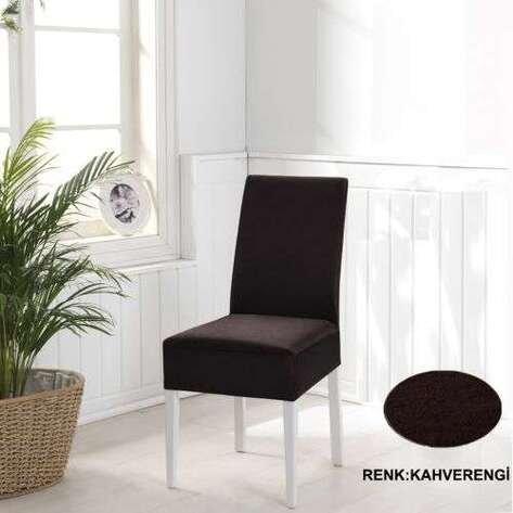 Esnek Likralı Kadife Kahverengi Sandalye Kılıfı