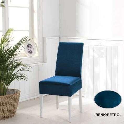 Esnek Likralı Kadife Petrol Mavisi Sandalye Kılıfı