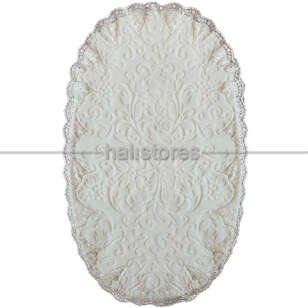 Fransız Dantelli Çeyizlik Oval Banyo Halısı Krem - Thumbnail