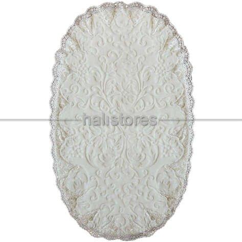 Fransız Dantelli Çeyizlik Oval Banyo Halısı Krem