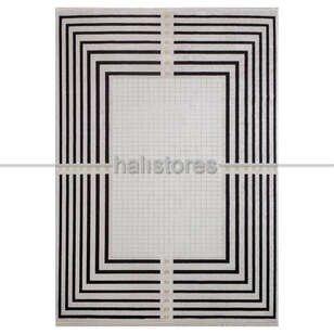 Geometrik Desenli Halı Deep 6085 Bej-Siyah - Thumbnail