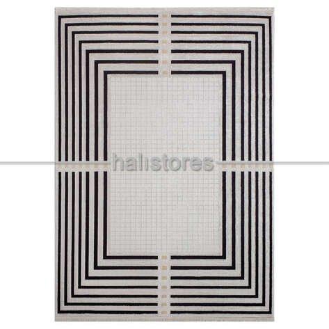Geometrik Desenli Halı Deep 6085 Bej-Siyah
