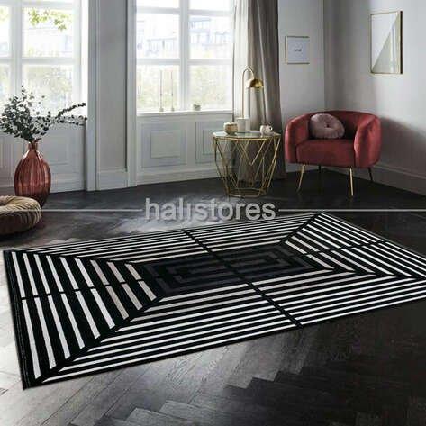 Geometrik Desenli Halı Deep 6086 Siyah-Bej