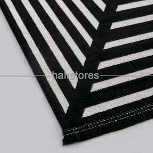 Geometrik Desenli Halı Deep 6086 Siyah-Bej - Thumbnail
