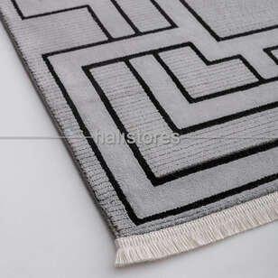 Geometrik Desenli Halı Deep 6087 Gri-Antrasit - Thumbnail