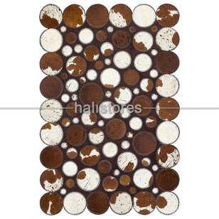 Kahve-Beyaz Deri Patchwork Halı - Thumbnail