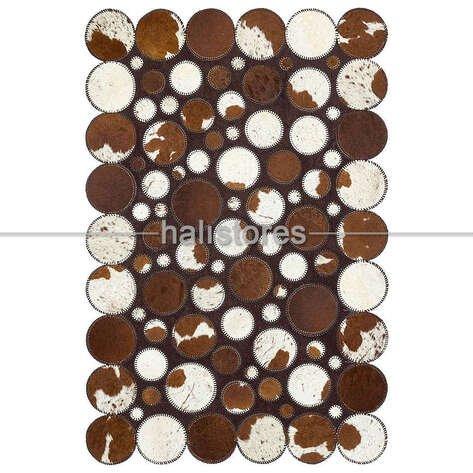 Kahve-Beyaz Deri Patchwork Halı