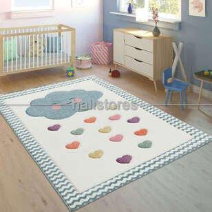 Kalpli Bulut Desenli Çocuk ve Bebek Halısı - Thumbnail