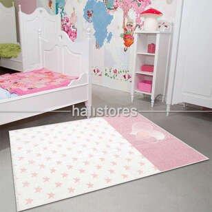 Kalpli Yıldız Desenli Çift Taraflı Kız Çocuk ve Bebek Halısı 03 Pembe - Thumbnail