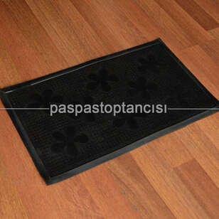 Paspas Toptancısı - Kapı Paspası Halı Paspas Çiçekler Siyah (1)