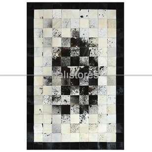 Krem-Siyah Geçişli Deri Patchwork Halı - Thumbnail