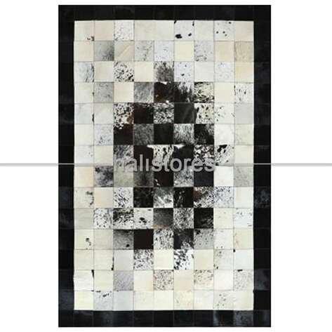 Krem-Siyah Geçişli Deri Patchwork Halı