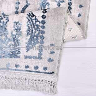 Lacivert Çerçeveli Gri Klasik Salon Halısı Galaxy 13404 - Thumbnail