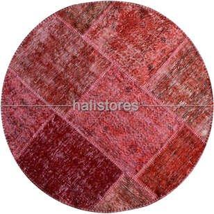 Liviadora Patchwork Yuvarlak Halı Cross Kırmızı - Thumbnail