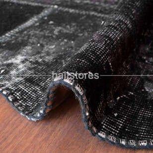 Liviadora Patchwork Yuvarlak Halı Cross Siyah - Thumbnail