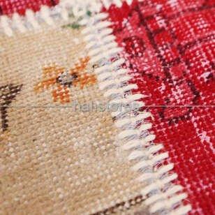 Liviadora Patchwork Yuvarlak Halı Kübik Kırmızı-Bej - Thumbnail