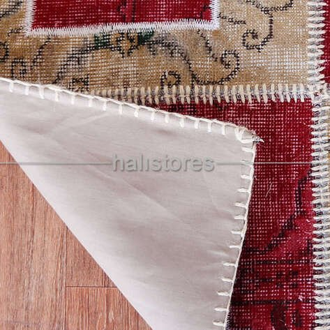 Liviadora Patchwork Yuvarlak Halı Kübik Kırmızı-Bej