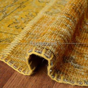 Liviadora Yuvarlak Patchwork El Halısı Koyu Sarı - Thumbnail