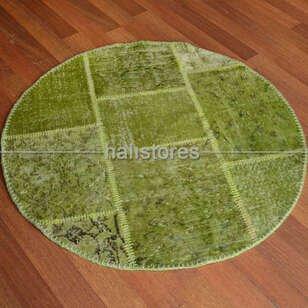 Liviadora Yuvarlak Patchwork Halı Fıstık Yeşili - Thumbnail