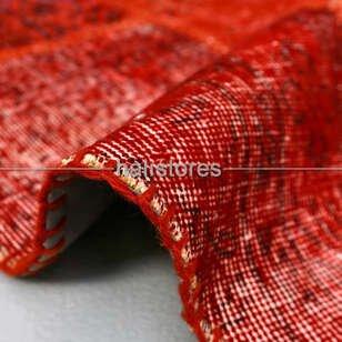 Liviadora Yuvarlak Patchwork Halı Kırmızı - Thumbnail