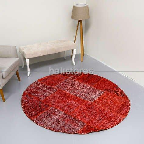 Liviadora Yuvarlak Patchwork Halı Kırmızı