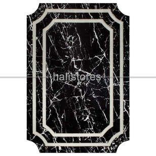 Bahariye Halı - Mermer Desenli Çerçeveli Halı Deep 6088 Siyah-Beyaz (1)