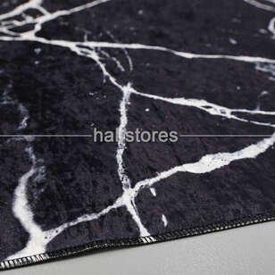 Modern Baskılı Dekoratif Halı Mermer Siyah - Thumbnail