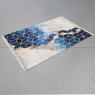 Halıstores - Modern Baskılı Dekoratif Halı Suetro Mavi (1)