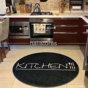 Halıstores - Modern Baskılı Dekoratif Yuvarlak Halı Kitchen Siyah (1)