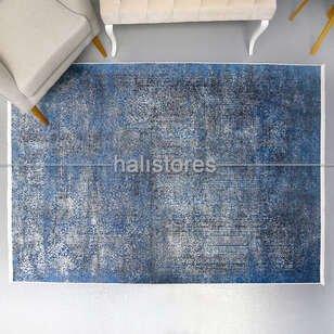 Modern Desenli Mavi Halı Zen 1847 - Thumbnail